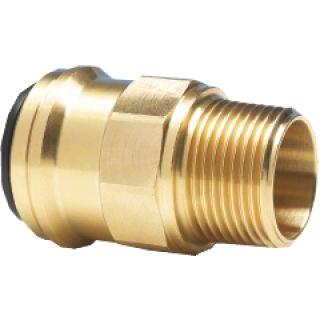 "Gerader Einschraubsteckverbinder (Messing) 15 mm AD / R½"" AG"