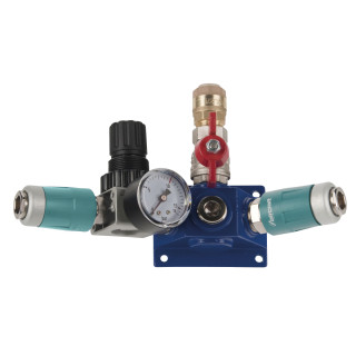 Endverteilerdose mit zwei Sicherheitskupplungen, Absperrhahn und Druckregler EVD15 2xSK-AH-DR