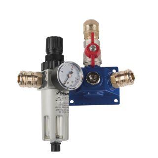 Endverteilerdose mit zwei Einhandkupplungen, Absperrhahn und Filterdruckregler EVD18 2xEK-AH-FDR