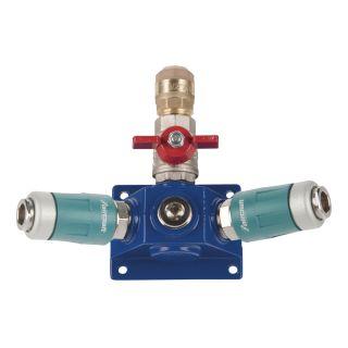 Endverteilerdose mit zwei Sicherheitskupplungen, Absperrhahn und Filterdruckregler EVD18 2xSK-AH-FDR