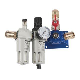 Endverteilerdose mit zwei Einhandkupplungen, Absperrhahn und Filterdruckregler und Nebelöler EVD22 2xEK-AH-FDR-NO
