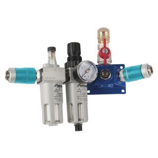 Endverteilerdose mit zwei Sicherheitskupplungen, Absperrhahn, Filterdruckregler und Nebelöler EVD18 2xSK-AH-FDR-NO